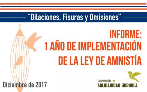 Informe: 1 año de la implementación de la Ley de Amnistía