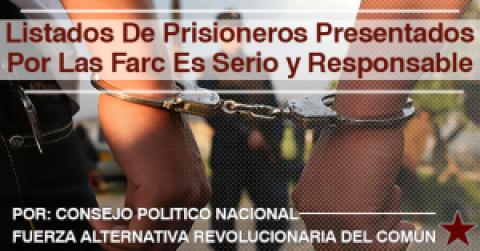 LISTADOS DE PRISIONEROS PRESENTADOS POR LAS FARC ES SERIO Y RESPONSABLE
