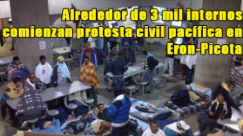 Alrededor de 3 mil internos comienzan protesta civil pacífica en Eron-Picota