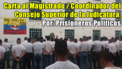 Carta al Magistrado / Coordinador del Consejo Superior de la Judicatura.