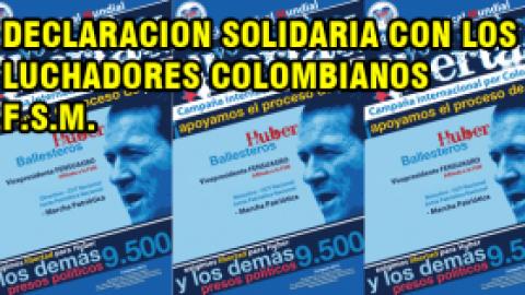 DECLARACION SOLIDARIA CON LOS LUCHADORES COLOMBIANOS