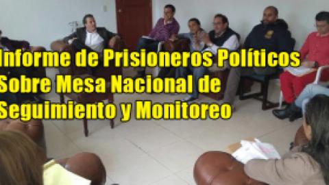 Informe de Prisioneros Políticos Sobre Mesa Nacional de Seguimiento y Monitoreo
