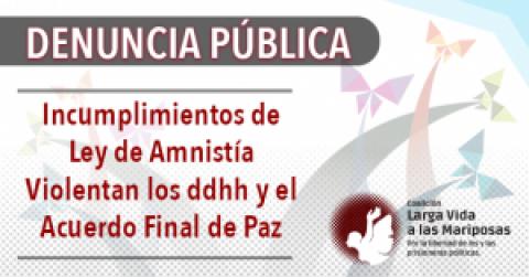 DENUNCIA PÚBLICA / Incumplimientos de ley de amnistía violentan los ddhh y el acuerdo final de paz